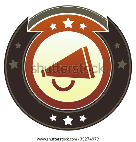 Megaphone or announcement icon on round red and brown imperial vector button with star accents suitable for use on website, in print and promotional materials, and for advertising. - stock vector