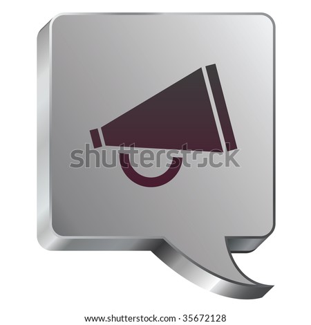 Megaphone or announcement icon on stainless steel modern industrial voice bubble icon suitable for use as a website accent, on promotional materials, or in advertisements. - stock vector