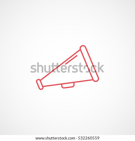Megaphone Red Line Icon On White Background