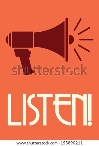Megaphone retro poster - stock vector