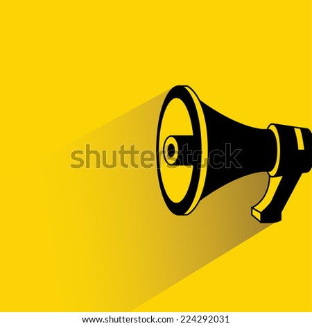 megaphone, speaker on yellow background, flat ans shadow design - stock vector