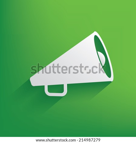 Megaphone symbol on green background,clean vector