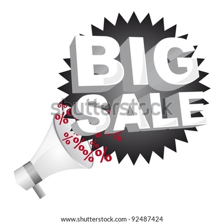 megaphone with big sale black tag isolated over white background. vector