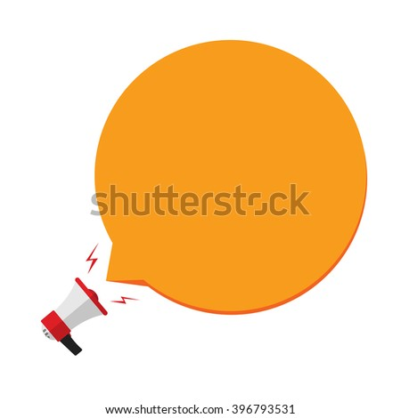 Megaphone with orange speech bubble template for text, flat cartoon bullhorn cloud, concept of announcement, public speech message, promotion, social media marketing vector design isolated on white - stock vector