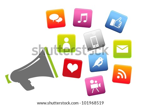 Megaphone with social media icons - stock vector