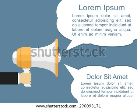 Megaphone with two speech bubbles, flat design, vector eps10 illustration - stock vector