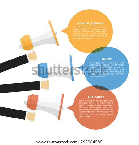 Megaphones with speech bubbles, promotion or announcement concept, vector eps10 illustration - stock vector