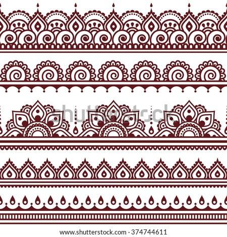 Mehndi, Indian Henna tattoo brown seamless pattern, design elements - stock vector
