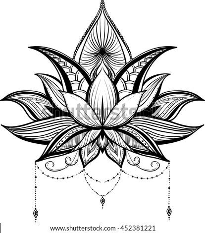 Mehndi lotus flower vector stock vector royalty free 452381221 mehndi lotus flower vector mightylinksfo
