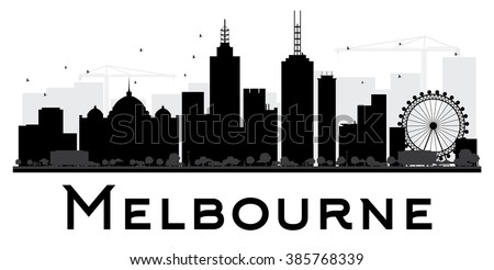 Melbourne City skyline black and white silhouette. Vector illustration. Simple flat concept for tourism presentation, banner, placard or web site. Business travel concept. Cityscape with landmarks - stock vector