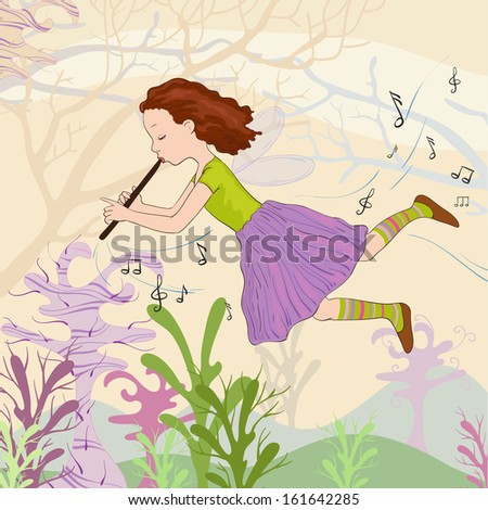 Melody in wood - stock vector
