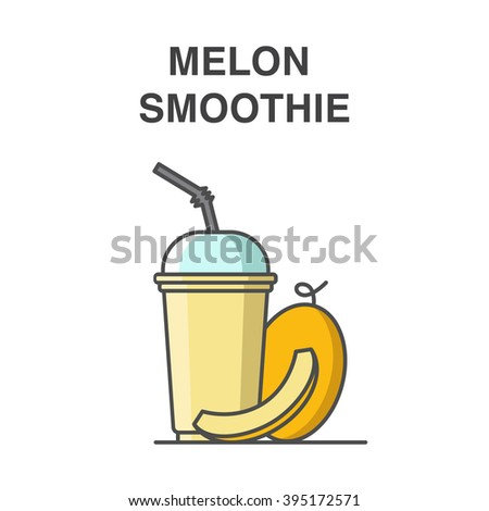 Melon smoothie in a cup with straw vector illustration. Healthy fruit smoothie collection. - stock vector