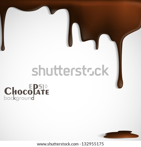 Melted chocolate dripping. Vector illustration. Eps 10. - stock vector