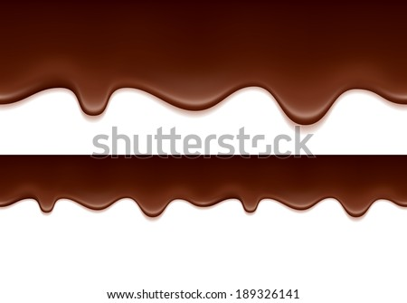 Melted chocolate drips - seamless horizontal border. - stock vector