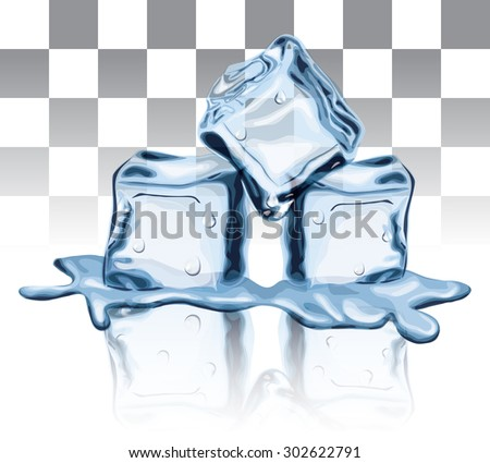 Melted Ice Cube - stock vector