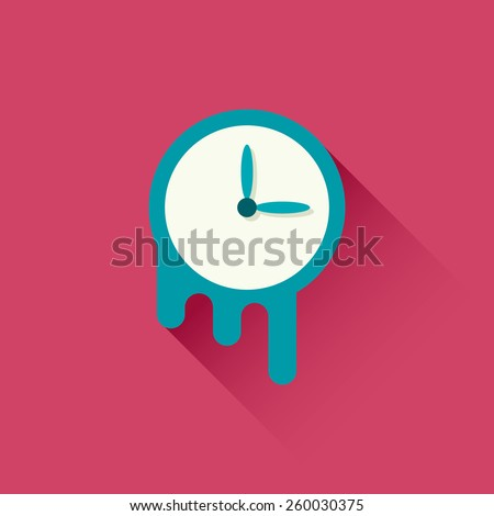 Melting clock icon. Symbol of time. Vector illustration. Flat design with long shadow