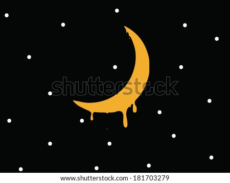 melting crescent in the starry sky. vector - stock vector