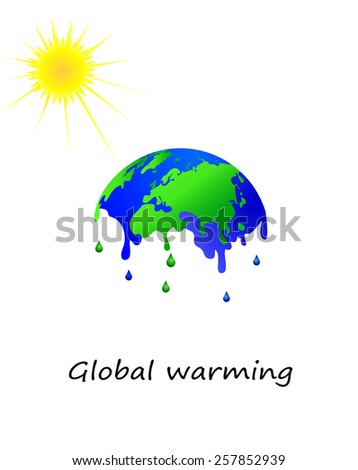 Melting earth, global warming - stock vector