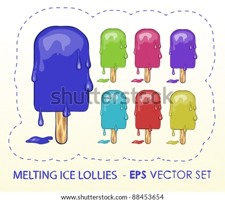 Melting Ice Lollies - stock vector