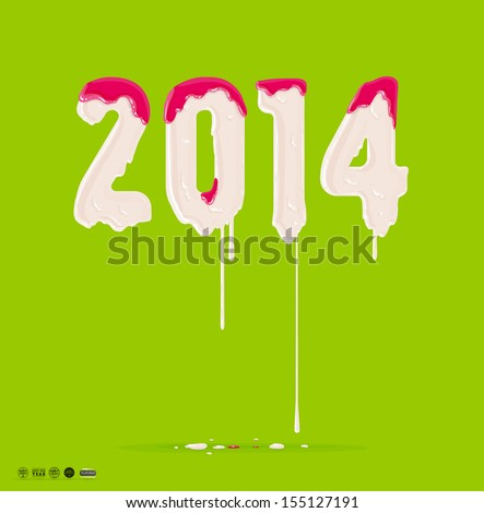 Melting 2014 lettering, paint drops. Xmas abstract design. Dripping paint design - stock vector