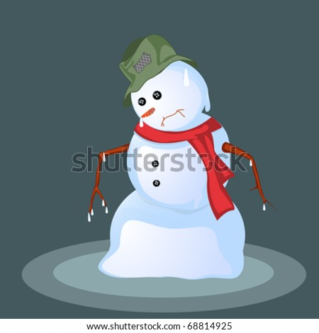 Melting snowman, abstract art background - stock vector