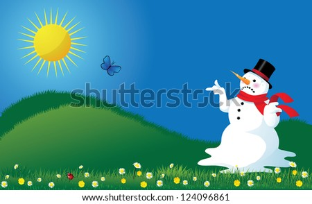 Melting Snowman in Springtime Background - stock vector