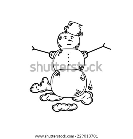 melting snowman on white background, isolated, vector, sketch - stock vector