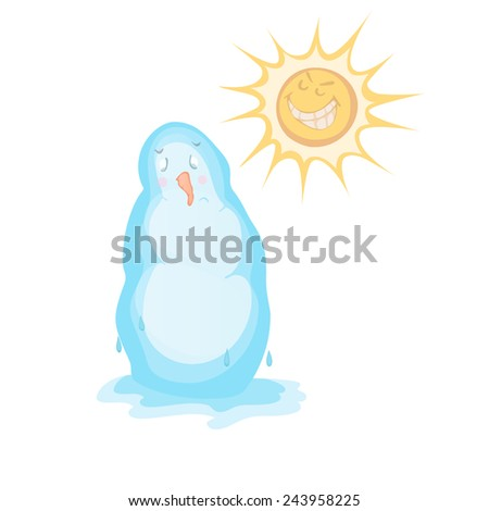 Melting snowman under the sun. Snowman and the smiling sun - stock vector