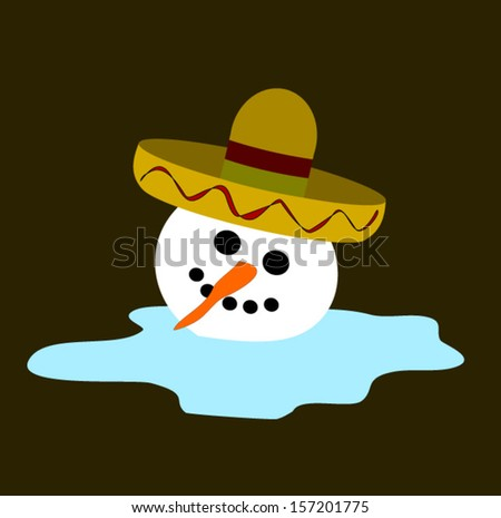 melting snowman wearing sombrero - stock vector
