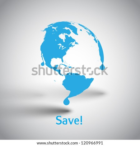Melting vector world - stock vector