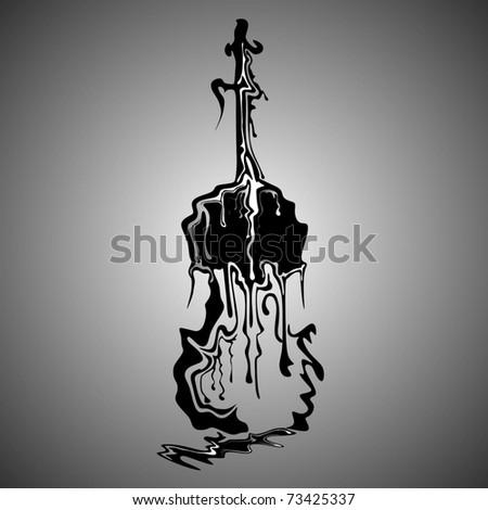 melting violin - stock vector
