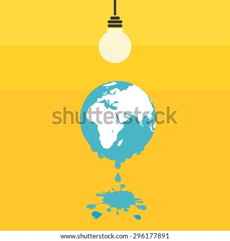 Melting world concept. Global warming illustration. - stock vector