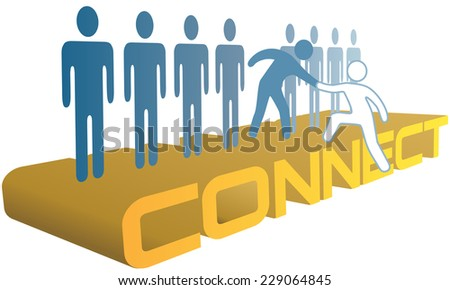 Member gives helping hand up to a new person to join a company or social group  - stock vector