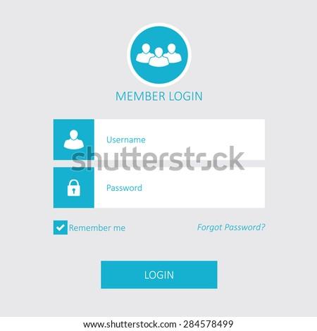 Member login - stock vector