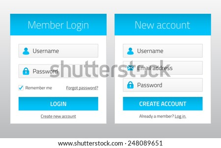 Member login and new account website forms - stock vector