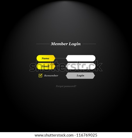 Member login form with trendy fields and buttons shapes and simply classical type. - stock vector
