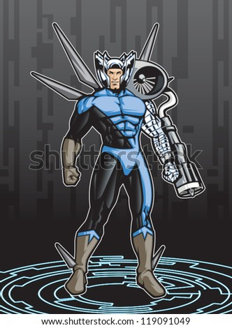 Member of a super hero team. This image is 1 of 4 that have the same color scheme (see portfolio for others). Image is a layered eps for easy editing. - stock vector