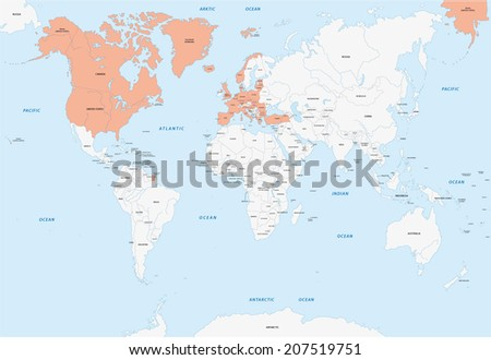 member states of NATO - stock vector