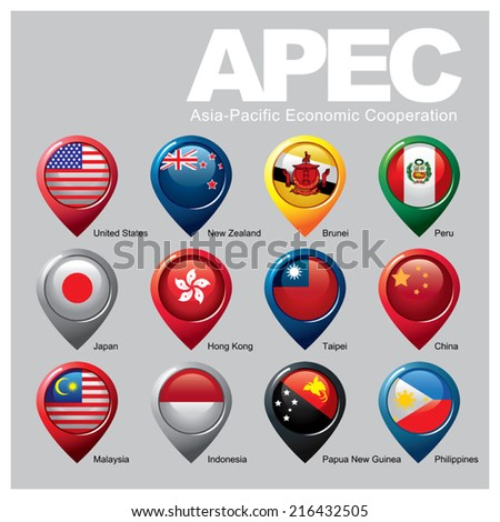 Members of the APEC - Part TWO - stock vector