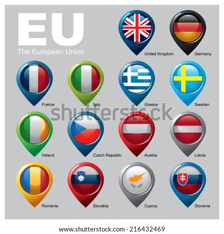Members of the European Union - Part Two   - stock vector