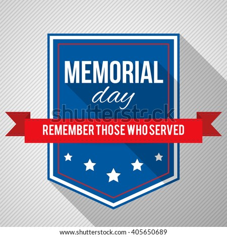 Memorial Day background. Vector illustration with text, stars and ribbon for posters, decoration. White text with long shadows. - stock vector