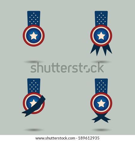 memorial day badge vector  - stock vector