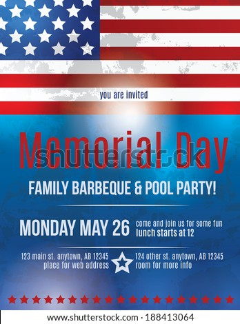 Memorial Day Barbeque Flyer Background Template Stock Photo Photo