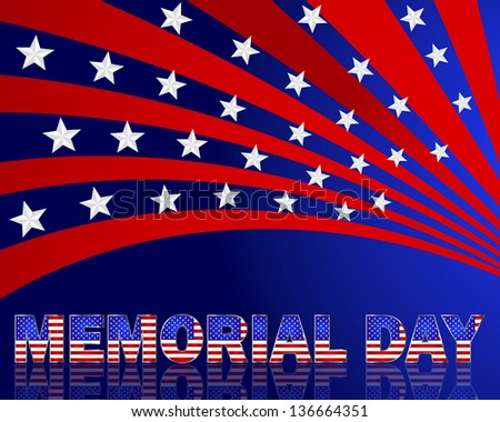 Memorial Day. Beautiful text with the pattern of the American flag on a festive background with stars. Vector illustration. - stock vector