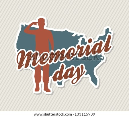 memorial day card over beige background. vector illustration - stock vector