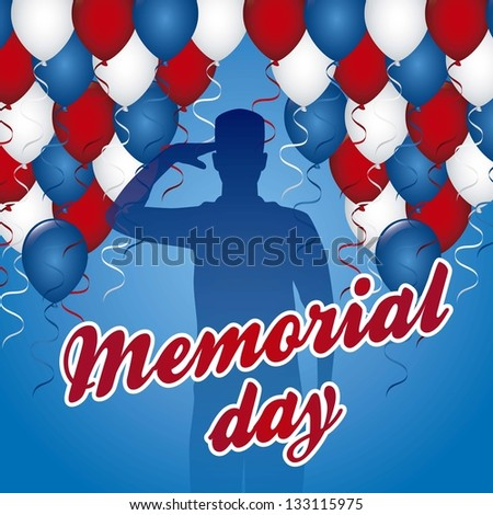 memorial day card over blue background. vector illustration - stock vector