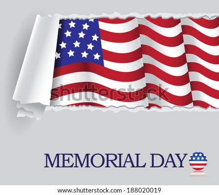 Memorial Day Flag Background Design. EPS 10 vector, grouped for easy editing. No open shapes or paths. - stock vector
