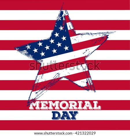 Memorial Day hand drawn vector illustration.