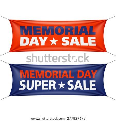 Memorial Day sale banners. Vector. - stock vector