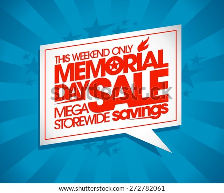 Memorial day sale design with speech bubble and rays. - stock vector